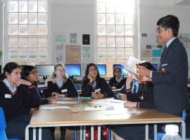 Hot topics: QE boys discuss women in the workplace with girls' school pupils